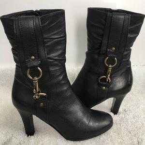 COACH Toree Black Leather Heels Zip Boots Size 8.5